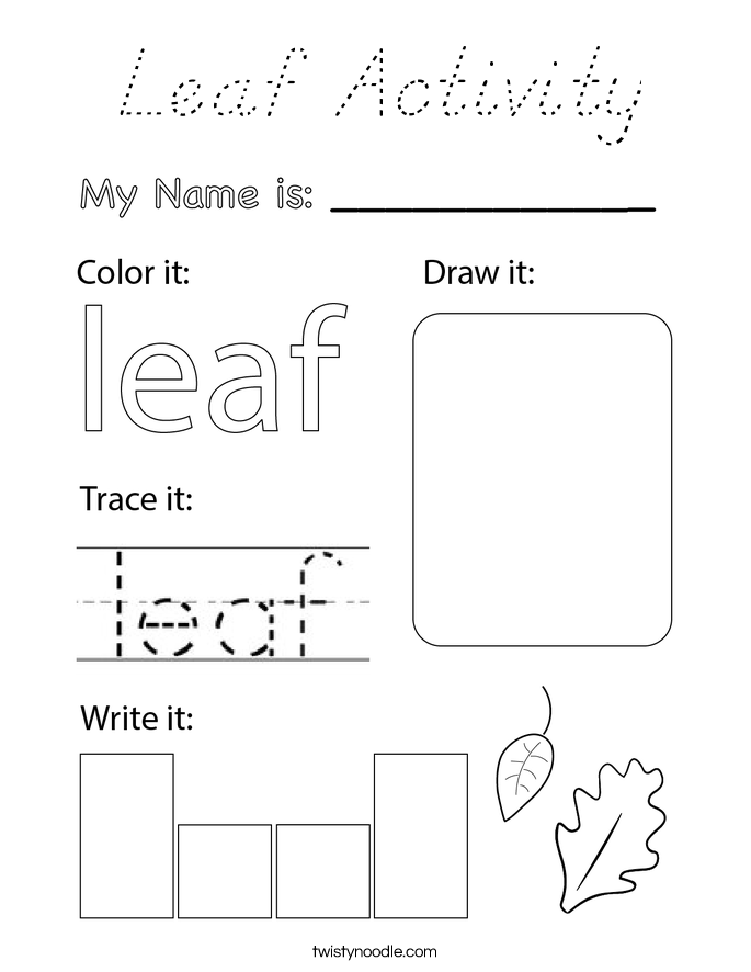 Leaf Activity Coloring Page