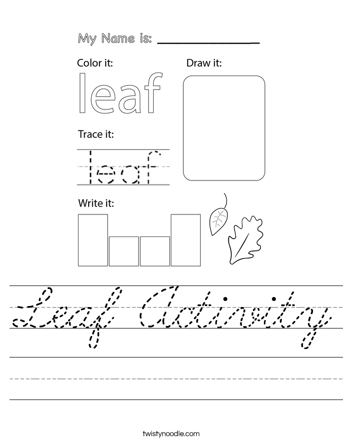 Leaf Activity Worksheet