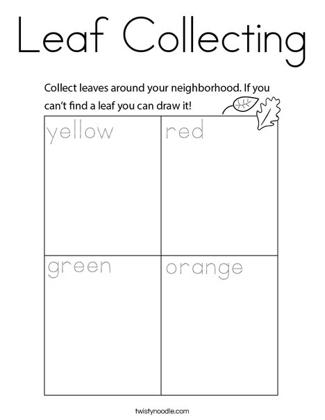Leaf Collecting Coloring Page