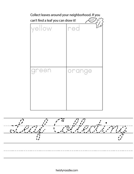 Leaf Collecting Worksheet
