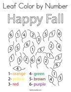 Leaf Color by Number Coloring Page