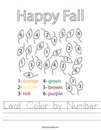 Leaf Color by Number Handwriting Sheet