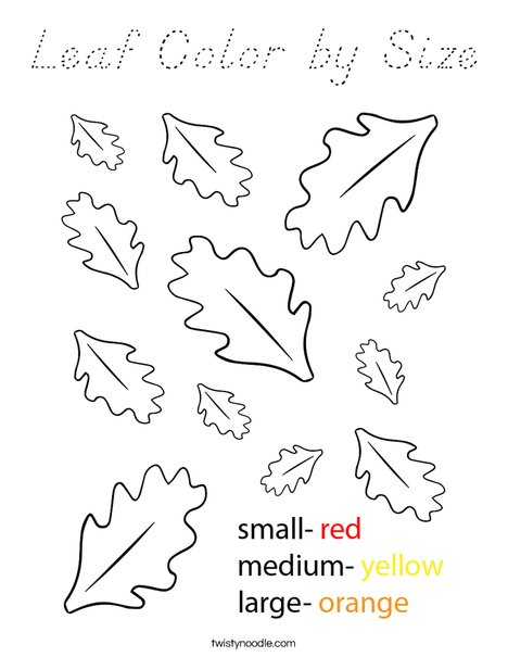 Leaf Color by Size Coloring Page