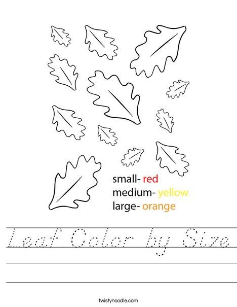 Leaf Color by Size Worksheet