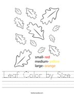 Leaf Color by Size Handwriting Sheet