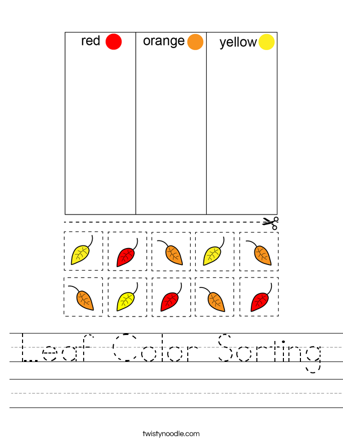 Leaf Color Sorting Worksheet