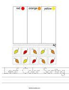 Leaf Color Sorting Handwriting Sheet