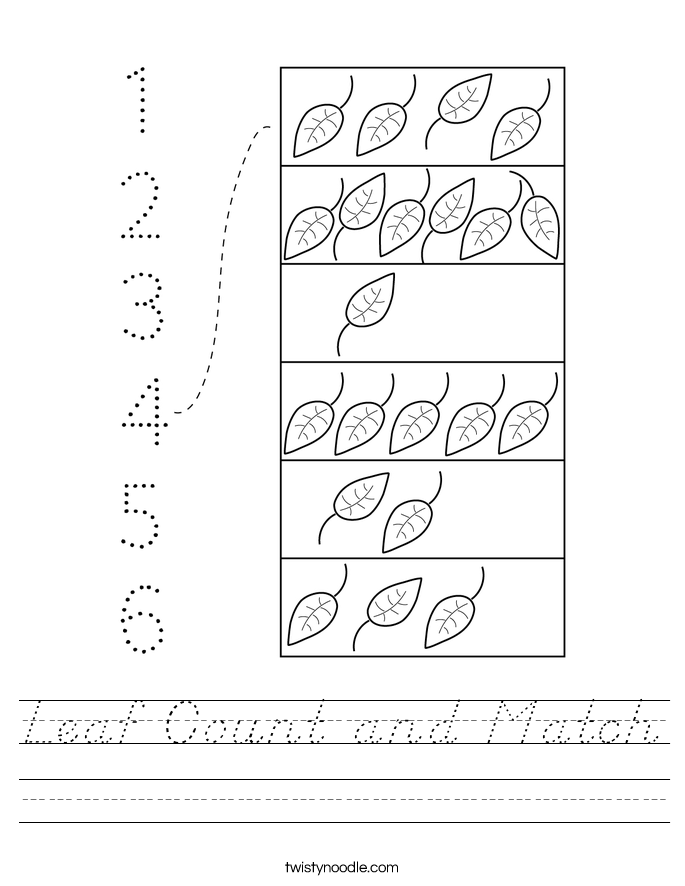 Leaf Count and Match Worksheet