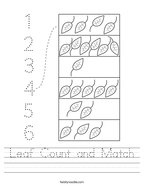 Leaf Count and Match Handwriting Sheet