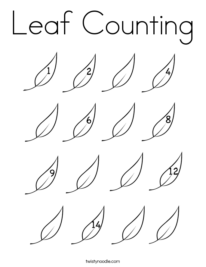 Leaf Counting Coloring Page - Twisty Noodle