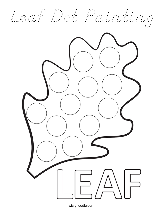 Leaf Dot Painting Coloring Page