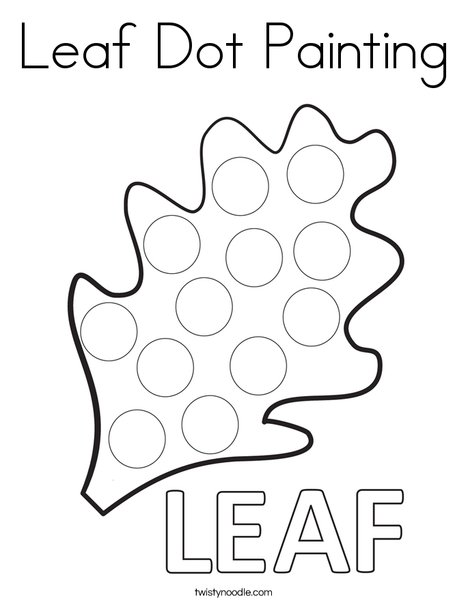 Leaf Dot Painting Coloring Page Twisty Noodle