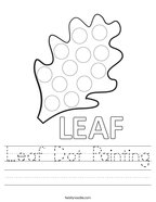 Leaf Dot Painting Handwriting Sheet