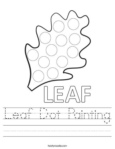 Leaf Dot Painting Worksheet