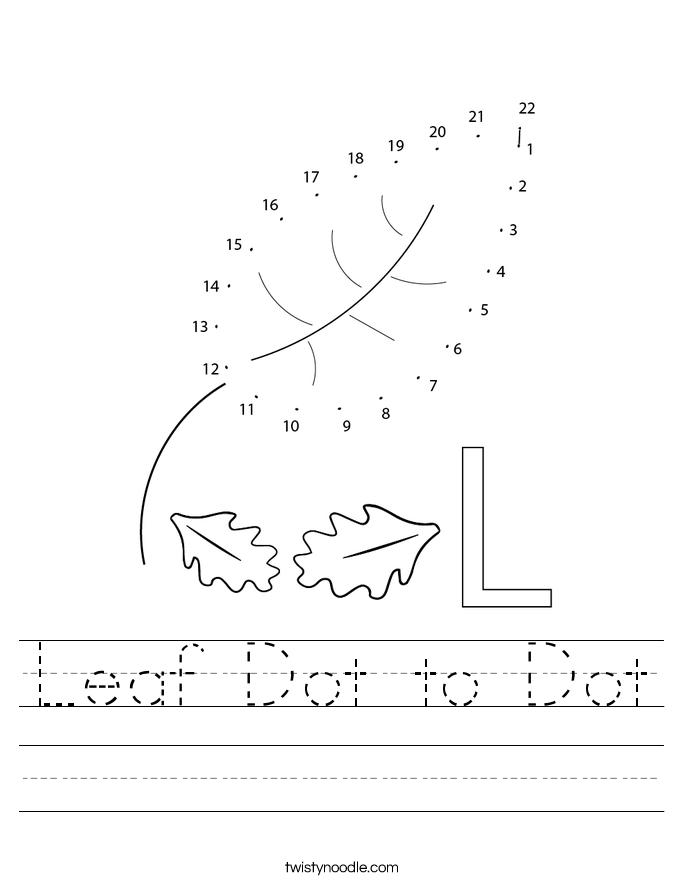Leaf Dot to Dot Worksheet
