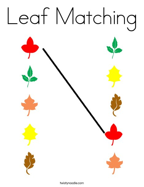 Leaf Matching Coloring Page