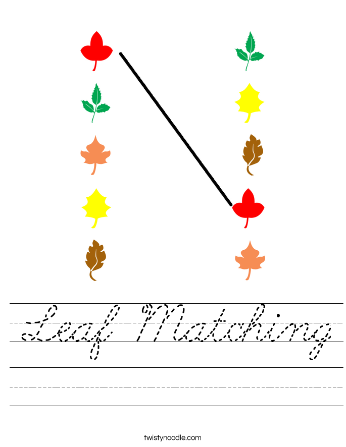Leaf Matching Worksheet