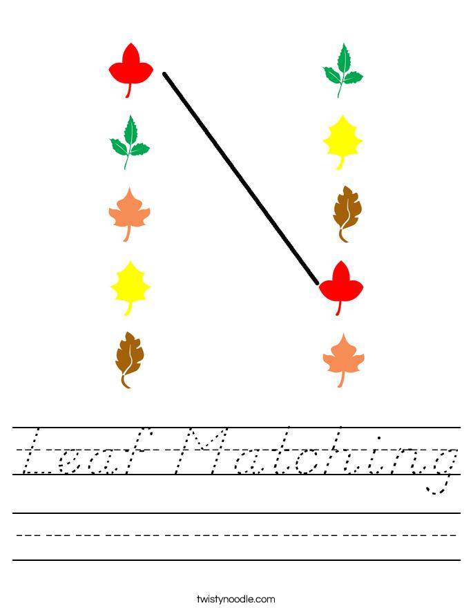 Leaf Matching Worksheet