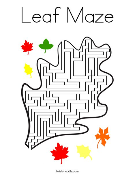 Leaf Maze Coloring Page