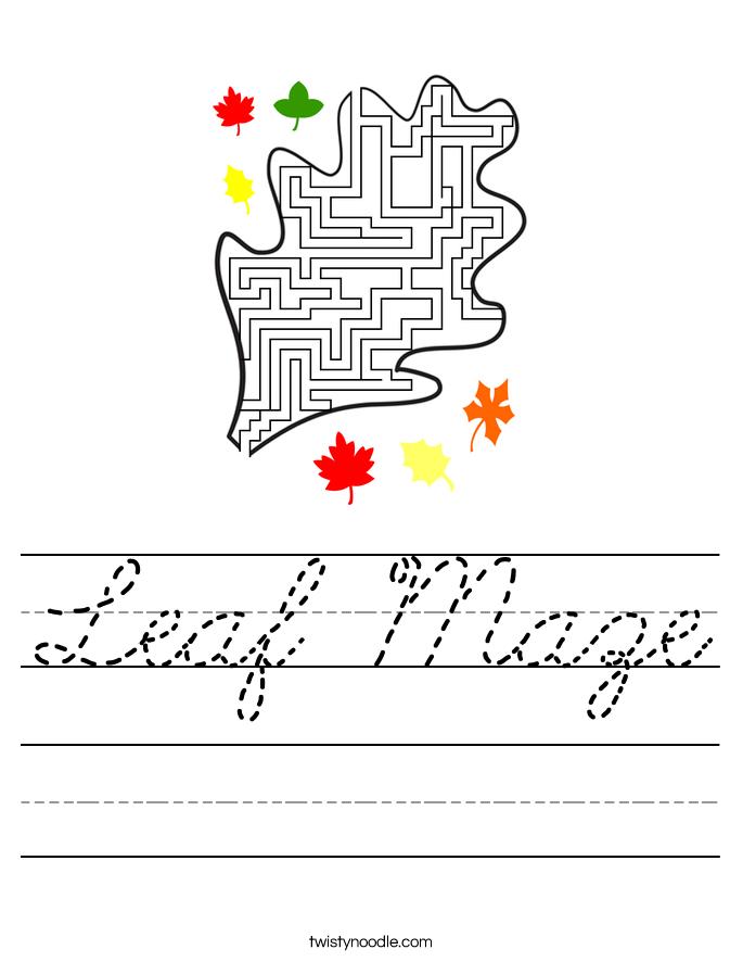 Leaf Maze Worksheet