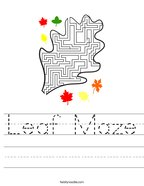 Leaf Maze Handwriting Sheet