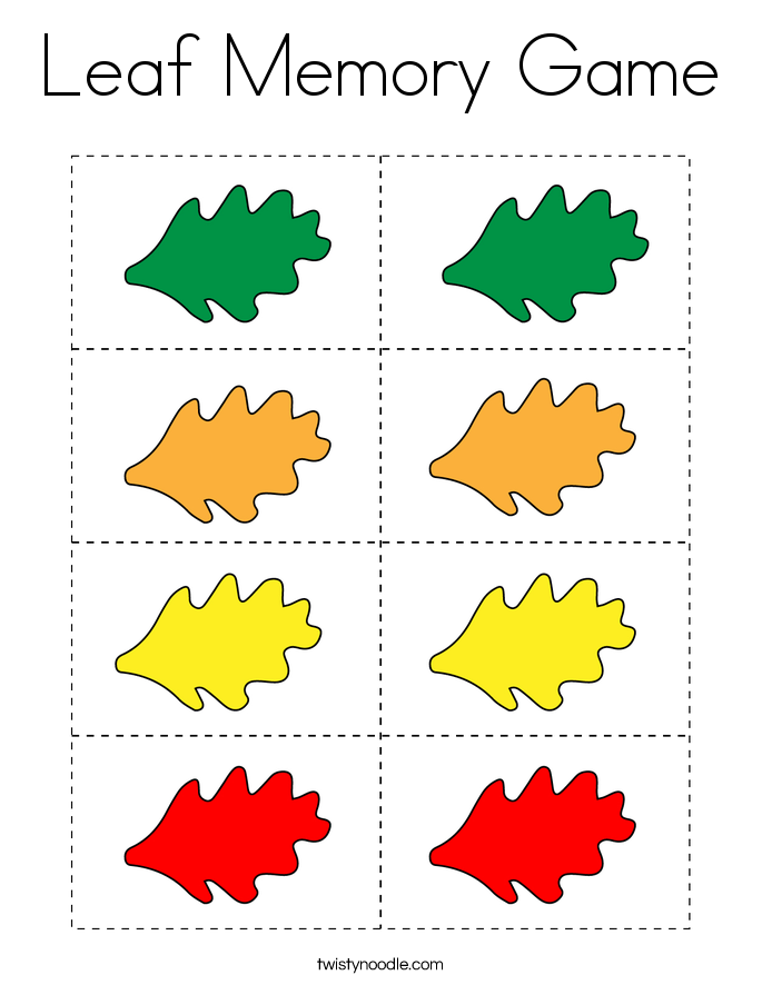 Leaf Memory Game Coloring Page