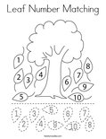 Leaf Number Matching Coloring Page