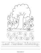 Leaf Number Matching Handwriting Sheet
