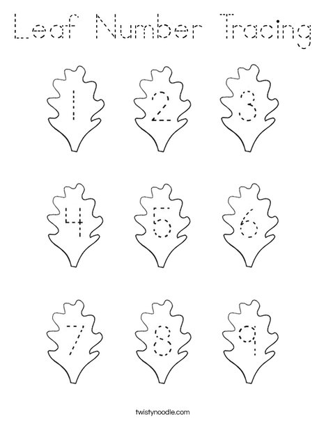 Leaf Number Tracing Coloring Page