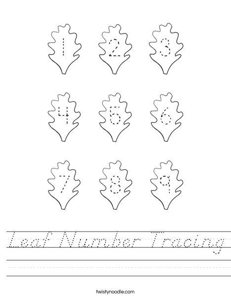 Leaf Number Tracing Worksheet