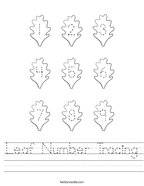 Leaf Number Tracing Handwriting Sheet