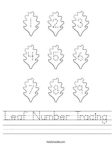 Leaf Number Tracing Worksheet