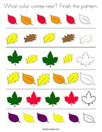 What color comes next Finish the pattern Coloring Page