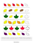 What color comes next Finish the pattern Handwriting Sheet