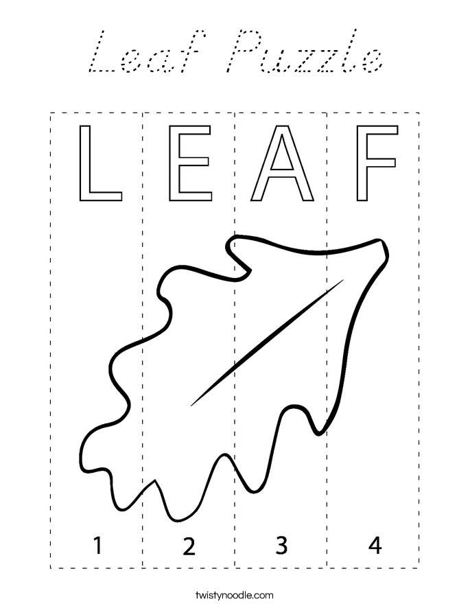 Leaf Puzzle Coloring Page
