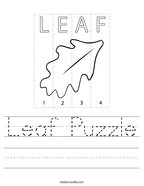 Leaf Puzzle Handwriting Sheet