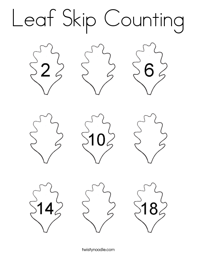 Leaf Skip Counting Coloring Page