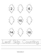 Leaf Skip Counting Handwriting Sheet