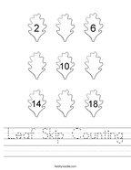 Leaf Skip Counting Handwriting Sheet