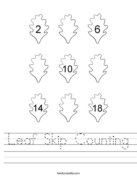 Leaf Skip Counting Worksheet