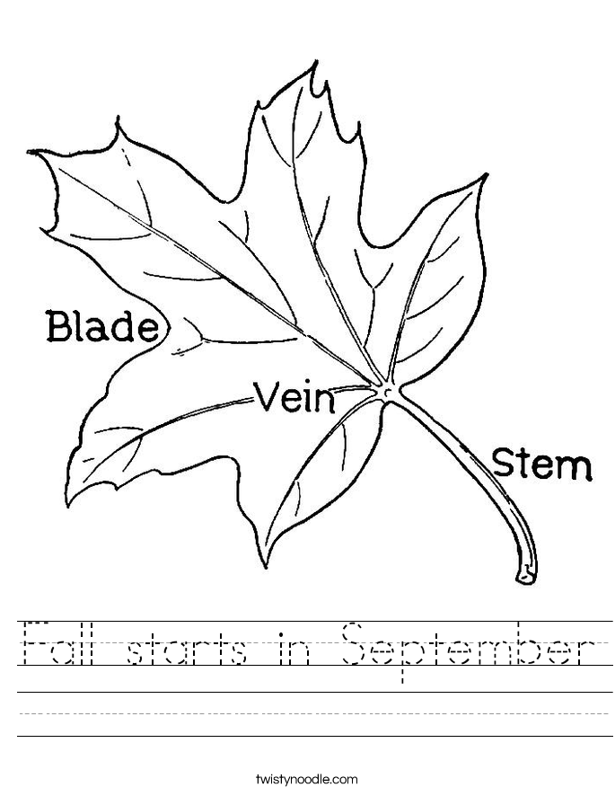 Fall starts in September Worksheet