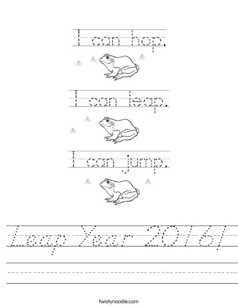 Leap Year 2016 Worksheet
