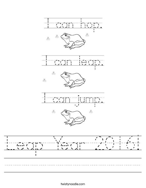 Leap Year 2016 Worksheet