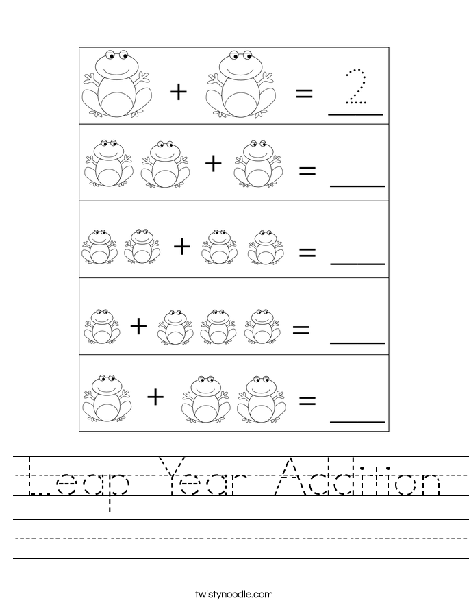 Leap Year Addition Worksheet