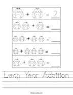 Leap Year Addition Handwriting Sheet