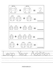 Leap Year Addition Handwriting Sheet