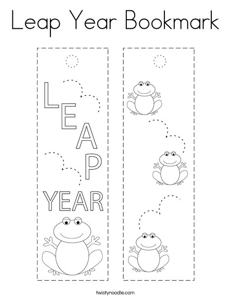 Leap Year Bookmark Coloring Page