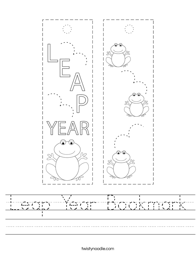 Leap Year Bookmark Worksheet