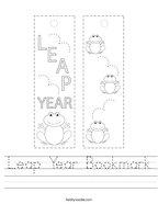 Leap Year Bookmark Handwriting Sheet