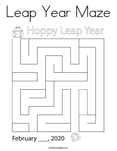 Leap Year Maze Coloring Page